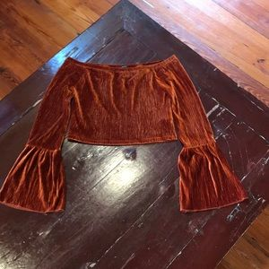 NWOT Burnt Orange Bell Sleeve Velvet Crop Top
